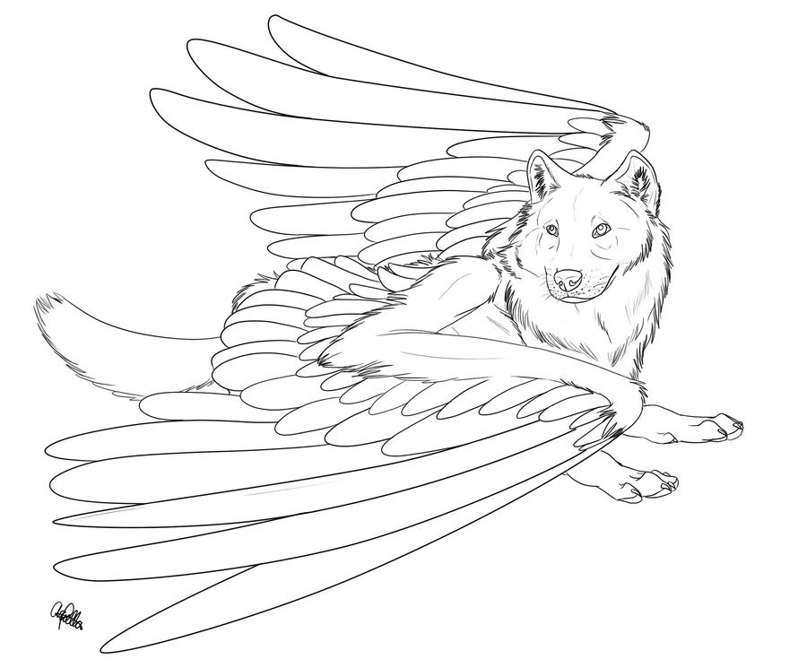 Winged Wolf FREE lineart 2 by Spiritwollf on DeviantArt