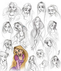 Rapunzel Sketch Dump by Spiritwollf