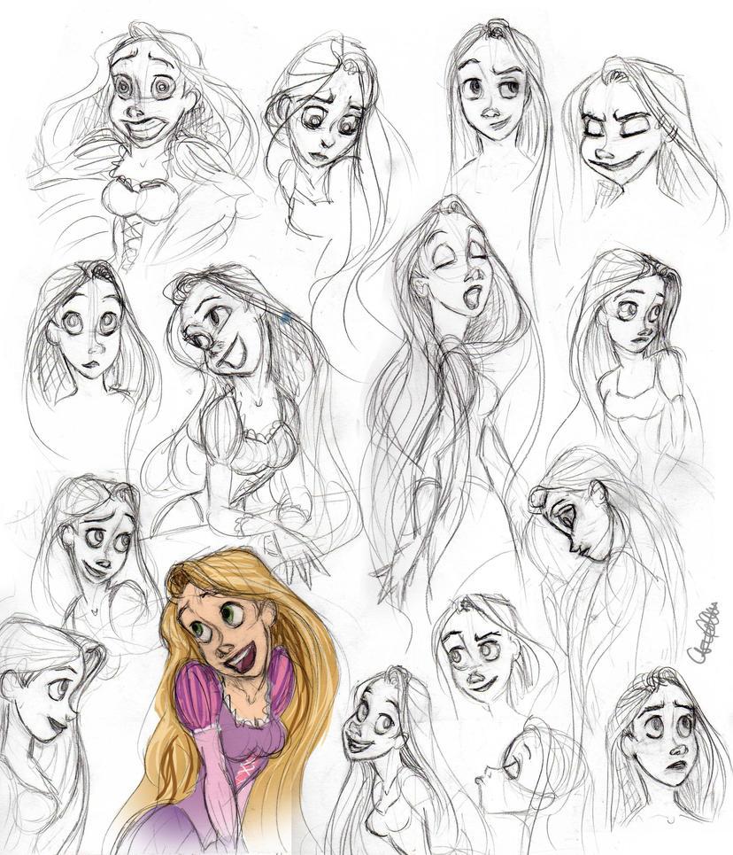 Rapunzel Sketch Dump By Spiritwollf On DeviantArt
