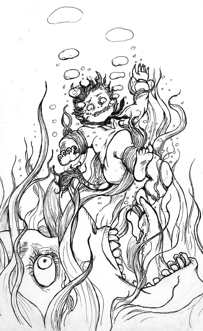 Inktober Day 4: Underwater by Toksi