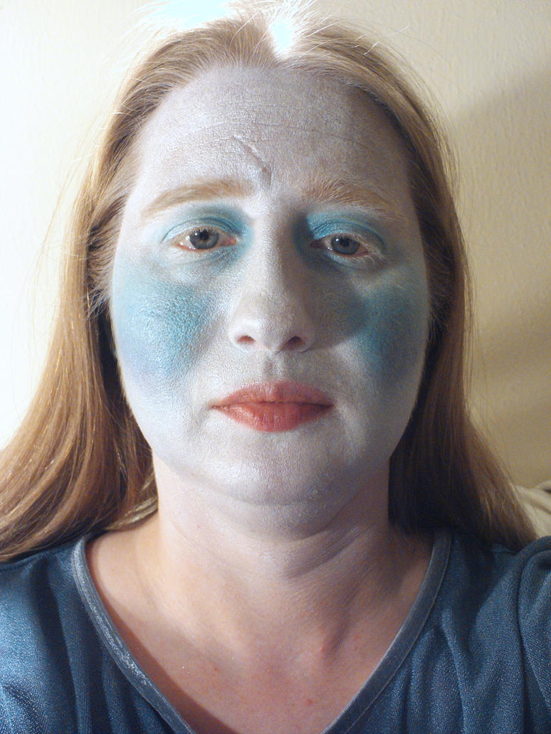 Ice Queen Makeup Applicat'n - before blue lipstick by LovedPurpleAngelWife