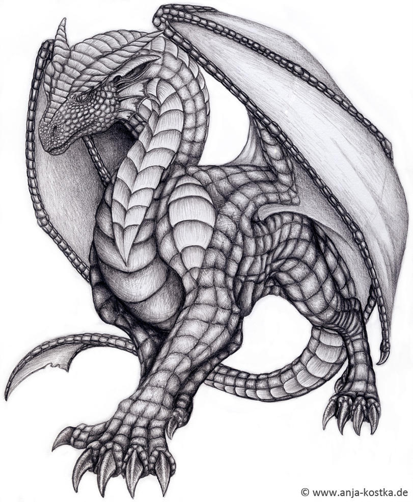 Dragon drawing by arkaedri on deviantart for Cool detailed drawings