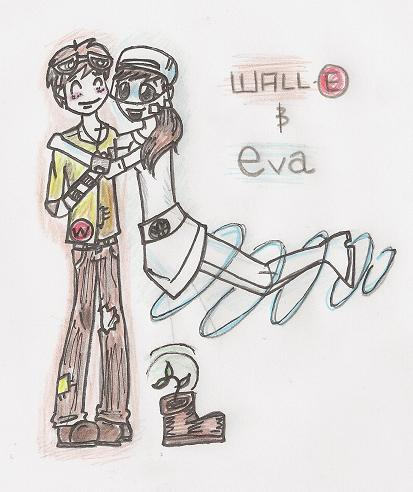 Wall-E and Eva as Humans by VampireBlackCat