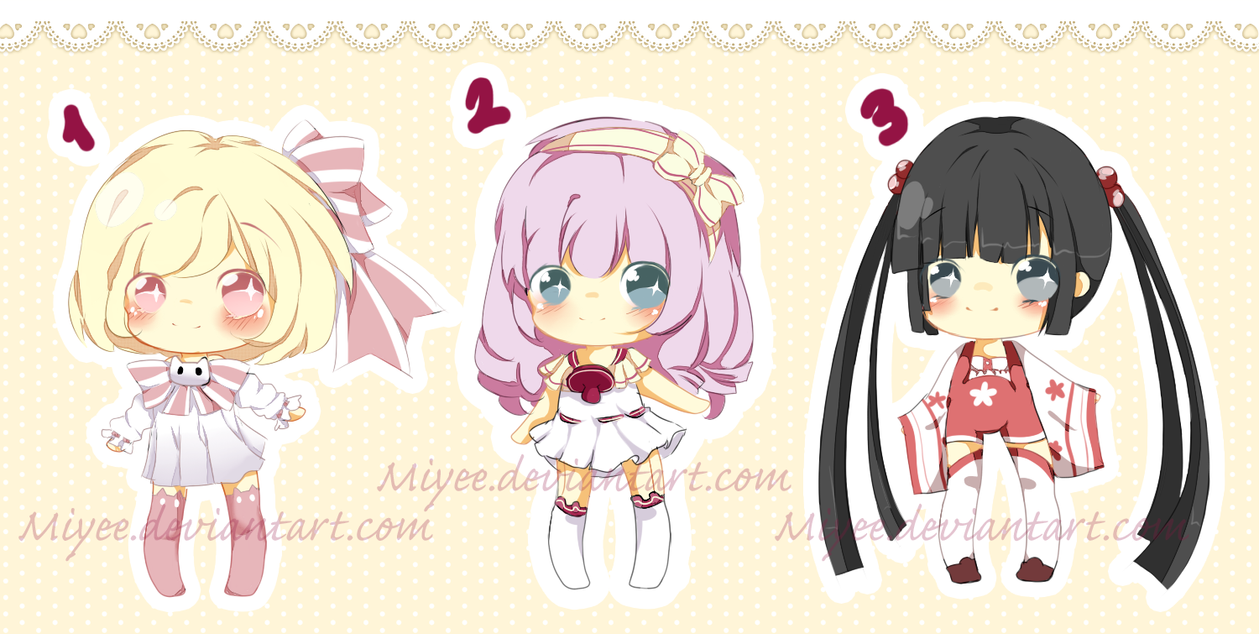 ADOPTABLE CHIBIS 5 USD// PAYPAL ONLY 1-2 OPEN by Miyee