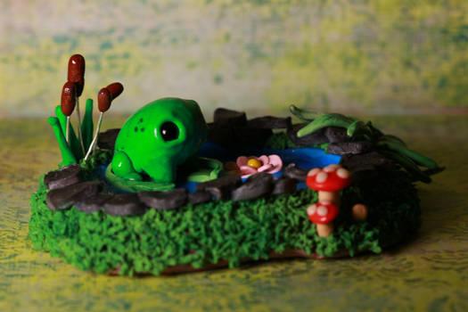 Frog pond sculpture