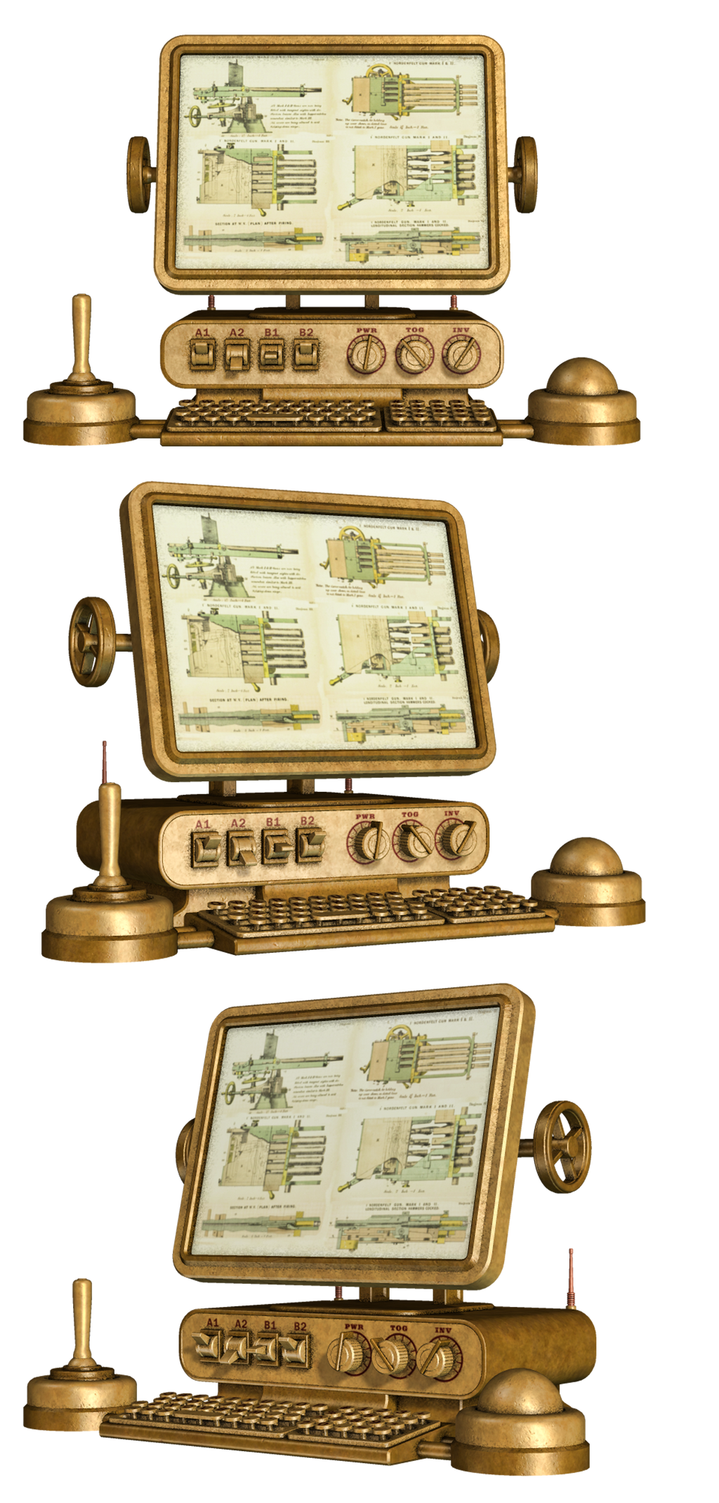 Steampunk Computer PNG Stock