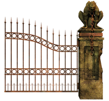 Graveyard Gate Right PNG Stock by Roy3D