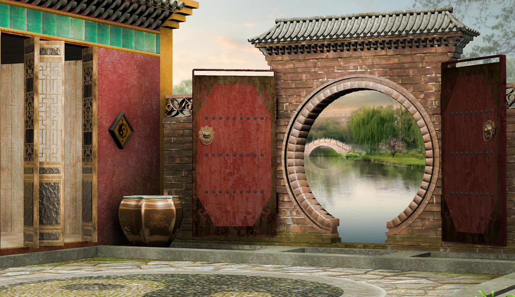 Fantasy Japanese Garden Premade Background By Roy3D