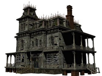 Haunted House 06 PNG Stock by Roy3D