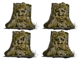 Tree Stump Spooky Face 01 PNG Stock by Roy3D