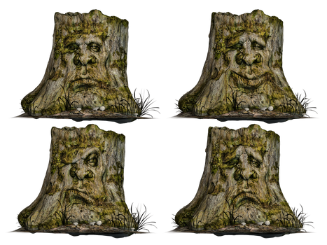 Tree Stump Spooky Face 01 PNG Stock