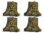 Tree Stump Spooky Face 02 PNG Stock