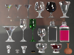 Wine Glasses, Bottles And Tops PNG Stock