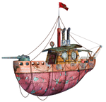 Steampunk Flying Tug Boat 01 PNG Stock