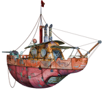 Steampunk Flying Tug Boat 02 PNG Stock