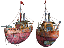 Steampunk Flying Tug Boat 03 PNG Stock by Roy3D