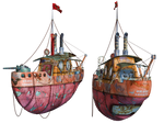 Steampunk Flying Tug Boat 03 PNG Stock
