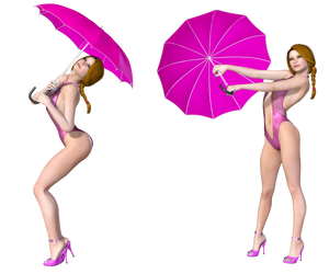 Pinup With Umbrella Poses PNG Stock by Roy3D