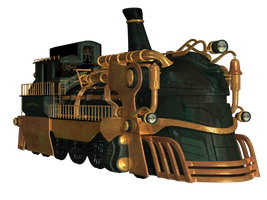 Steampunk Train 02 PNG Stock by Roy3D