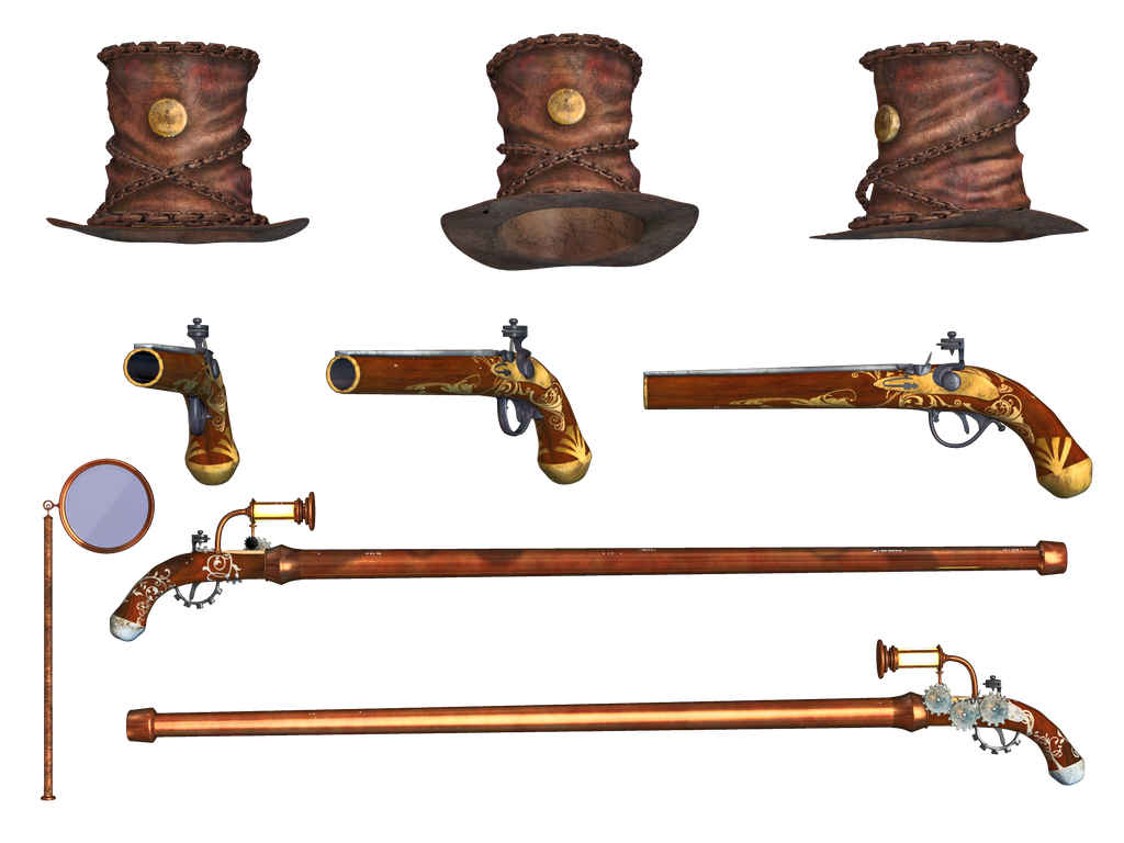Steampunk Hat Cane Pistol and Monacle