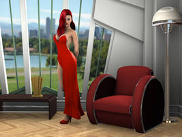 Red Rabbit At Home by Roy3D