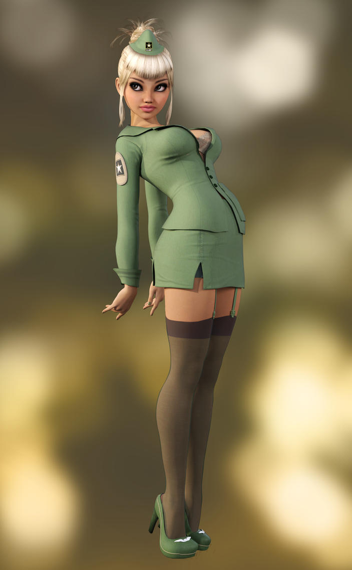 Sexy Little Pinup - Army Girl by Roy3D