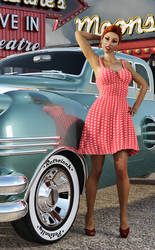 Retro Chick At The Drive In by Roy3D