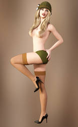 Retro Army Pinup Girl by Roy3D