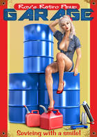 Pinup Retro Garage Poster 02 by Roy3D