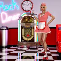 Diner Skater Waitress by Roy3D