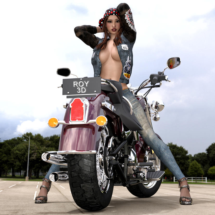 Rebel Biker Girl by Roy3D