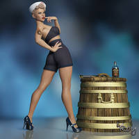 Retro Navy Girl Pinup by Roy3D
