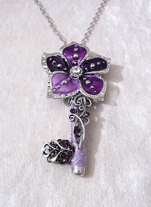 Purple Flower Key Pendant by Serata