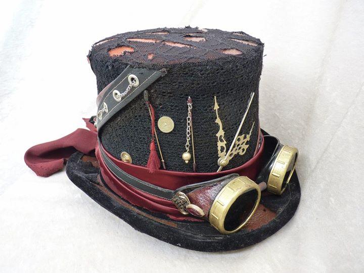 Bien-aimé Black-Red Steampunk Top Hat with Goggles by Serata on DeviantArt LH55