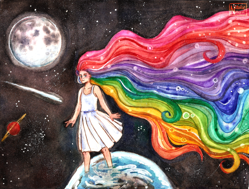 Rainbow Hair Space Girl by SailingBreezes
