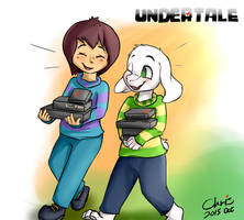 Frisk and Asriel back from Alphys' lab by YenTzuLin