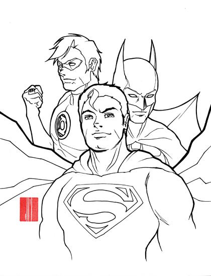 superman batman and green lantern by artofjeprox