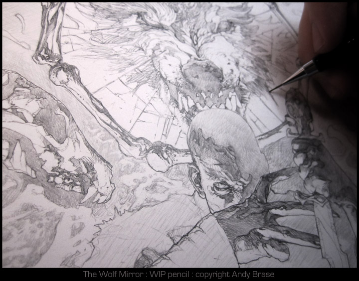 The Wolf Mirror- Pencil WIP by andybrase
