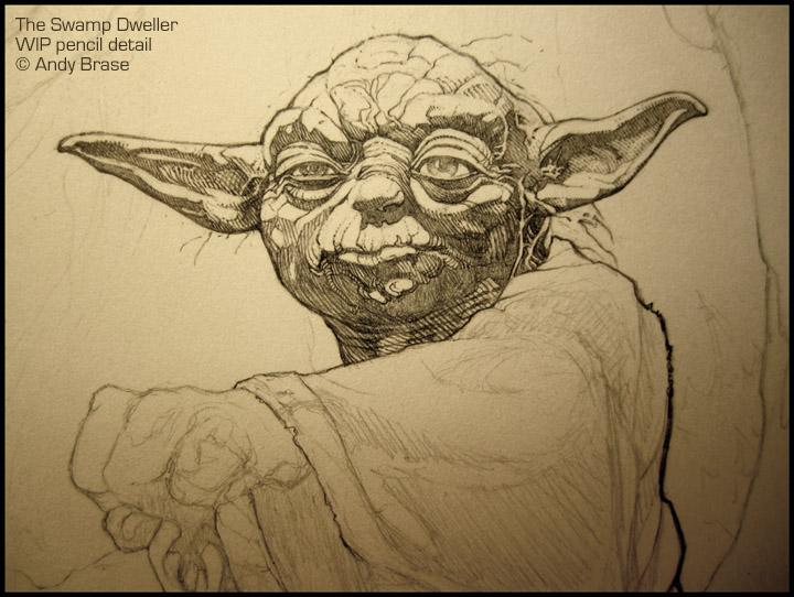 Swamp Dweller- WIP pencil detail by andybrase