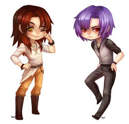 Luki and Monarch - chibi commission by clover-teapot