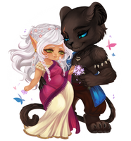 Indra and Za'Kabar - Chibi Commission by clover-teapot