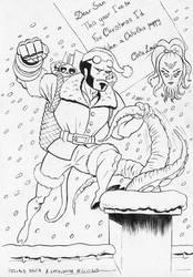 Hellboy Santa and Chtulouise by nautilebleu