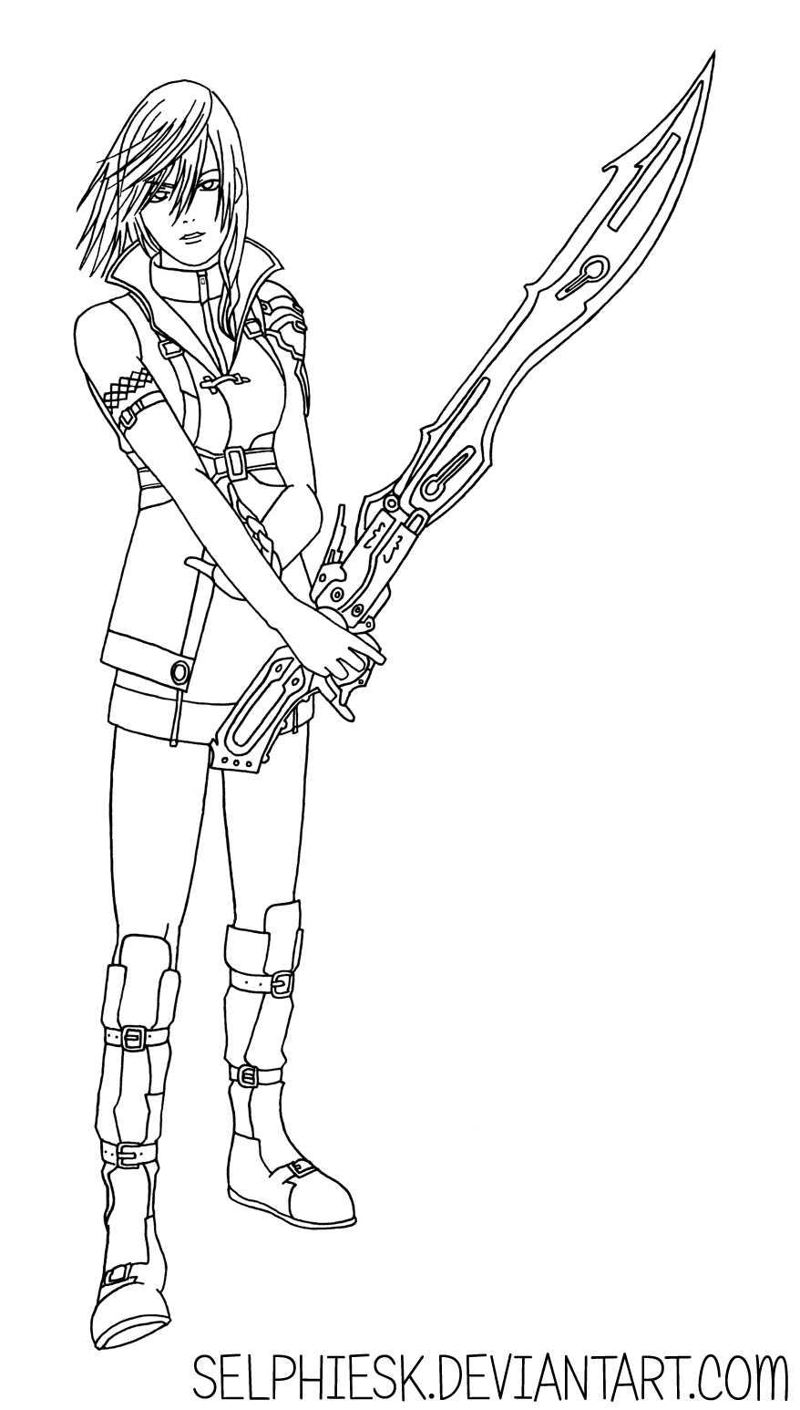 ffxiii lightning line art by selphiesk on deviantart