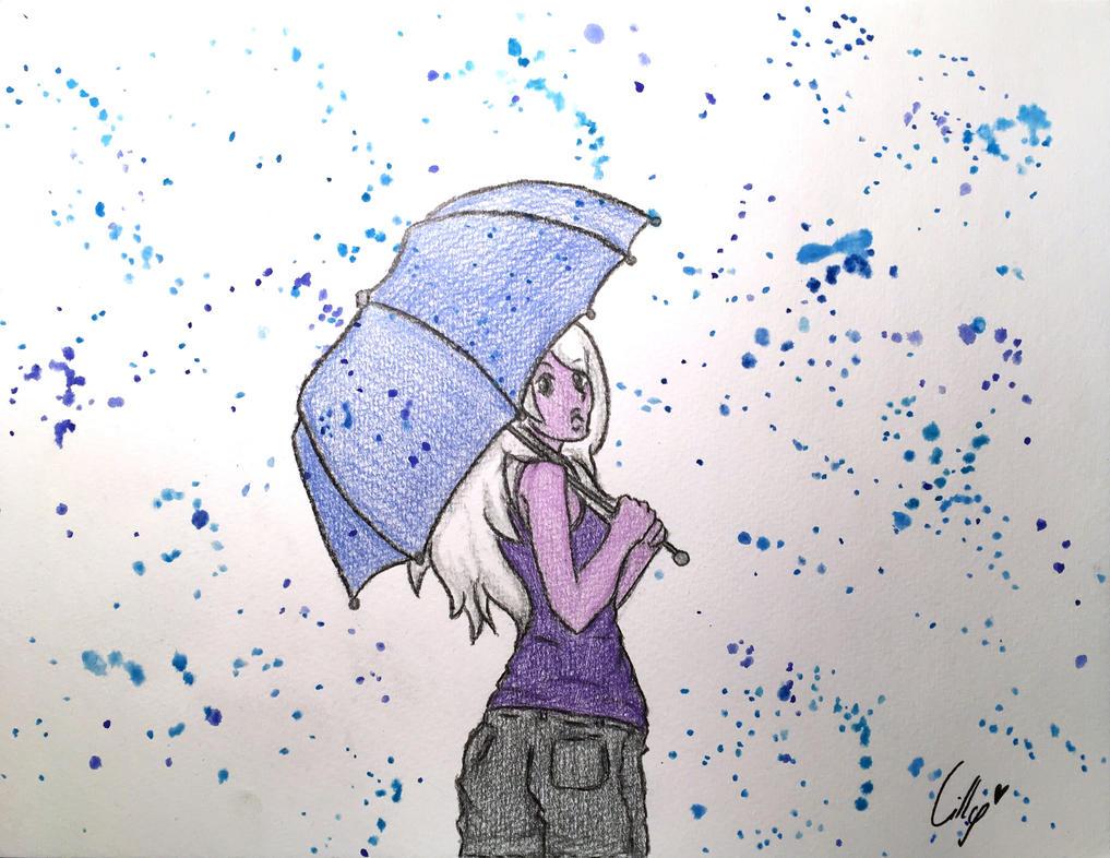 Amethyst walking in the Rain by LadyKanoe