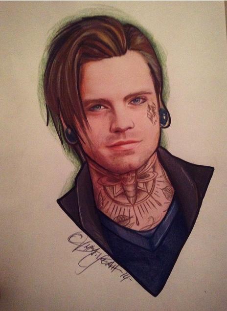 Bucky Barnes / Sebastian Stan Marvel Tattoo AU by ambayeahart