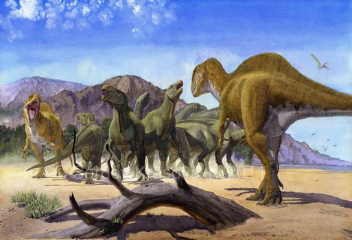 Altispinax dunkeri and Iguanodon