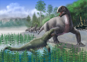titanophoneus vs ulemosaurus by atrox1