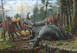 Rubeosaurus and young Hypacrosaurus