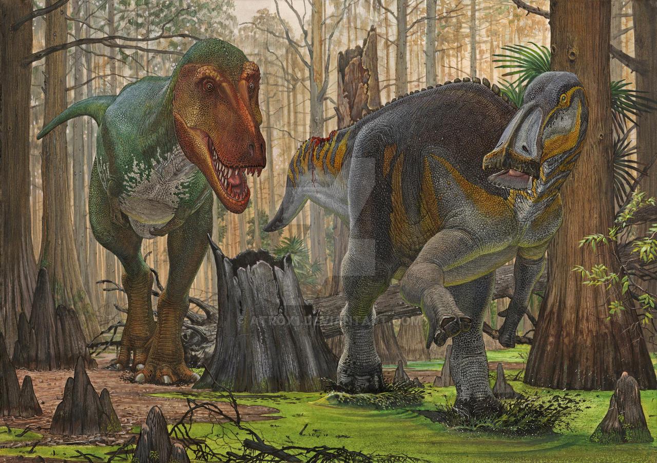 Edmontosaurus vs T-rex by atrox1