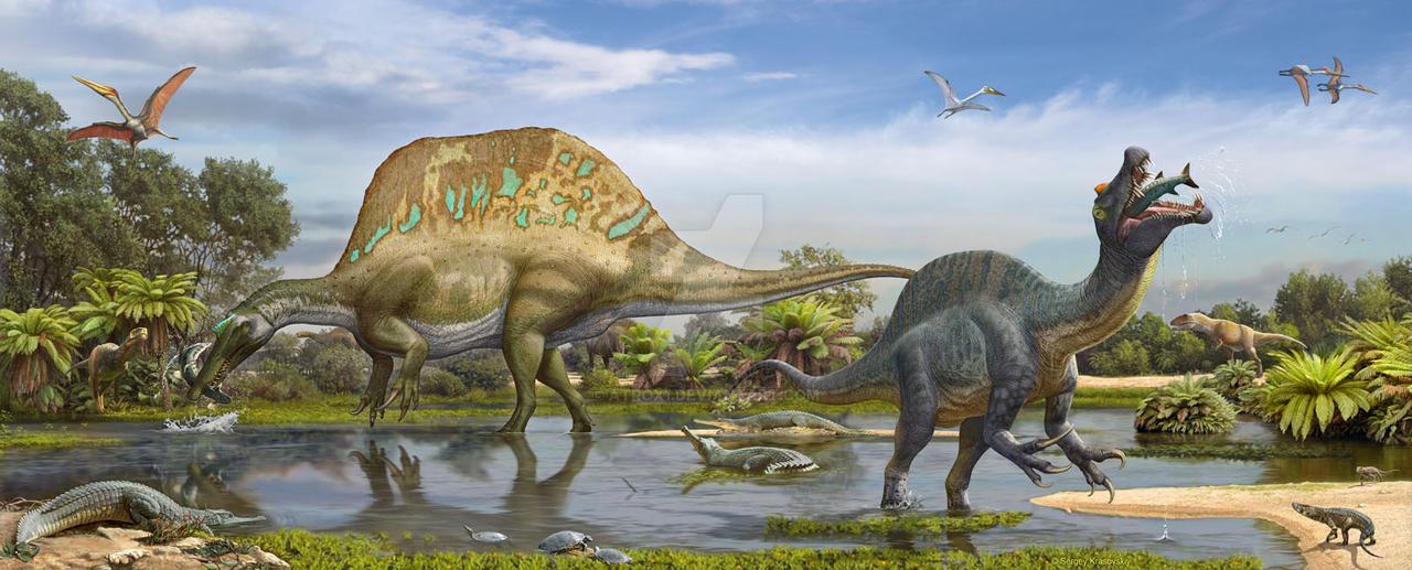 Spinosaurus and Sigilmassasaurus by atrox1